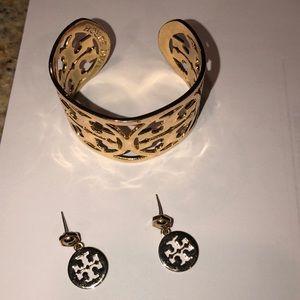 Tory Burch wide logo cuff bracelet and earrings